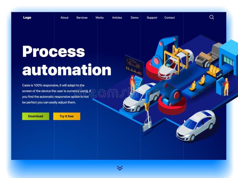 Έννοια μιας προσγειωμένος σελίδας για την αυτοματοποίηση διαδικασίας σε ένα εργοστάσιο αυτοκινήτων απεικόνιση αποθεμάτων
