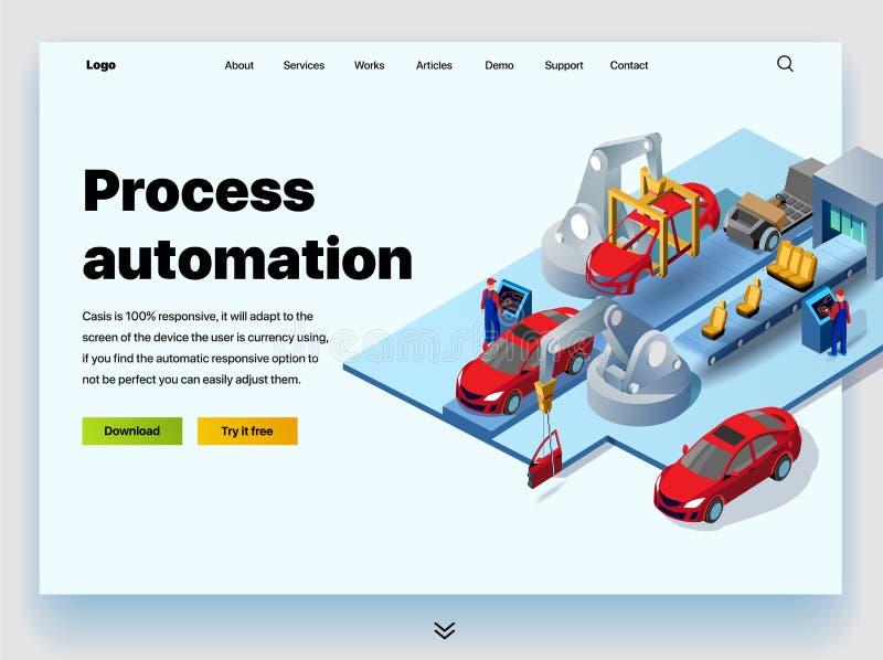 Έννοια μιας προσγειωμένος σελίδας για την αυτοματοποίηση διαδικασίας σε ένα εργοστάσιο αυτοκινήτων διανυσματική απεικόνιση