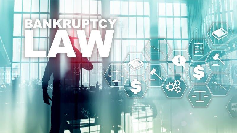 Έννοια νόμου πτώχευσης Νόμος αφερεγγυότητας Δικαστική επιχειρησιακή έννοια δικηγόρων απόφασης Μικτά μέσα στοκ εικόνες
