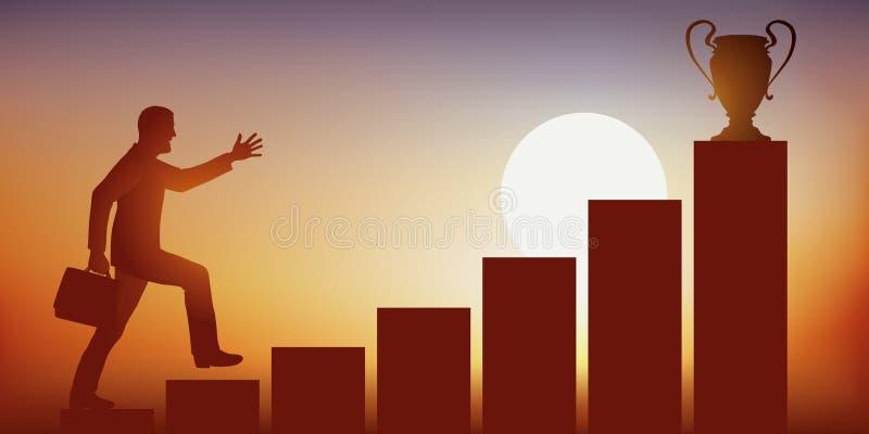 Έννοια της επιτυχίας, με ένα φιλόδοξο άτομο που αναρριχείται συμβολικά στα σκαλοπάτια που φτάνουν για να αρπάξει ένα φλυτζάνι απεικόνιση αποθεμάτων