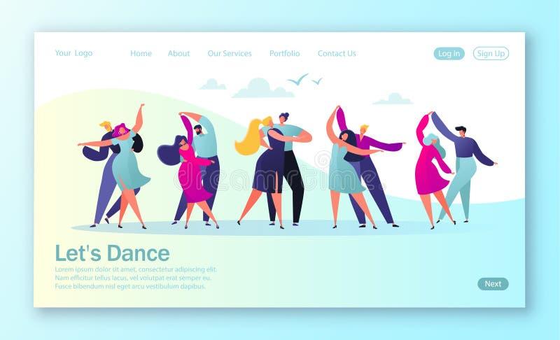 Έννοια της προσγειωμένος σελίδας με τους επίπεδους ευτυχείς χορεύοντας ανθρώπους ζευγών Νεαροί άνδρες και γυναίκες που απολαμβάνο διανυσματική απεικόνιση