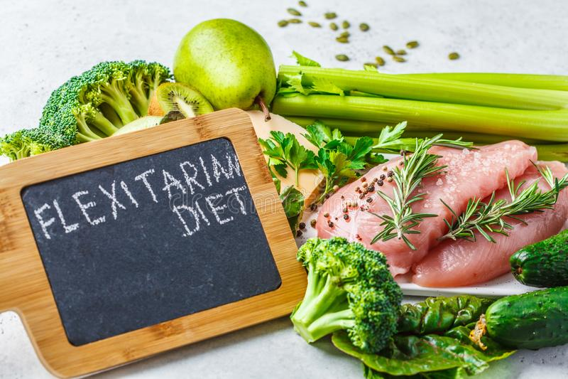 Έννοια υποβάθρου τροφίμων διατροφής Flexitarian, τοπ άποψη στοκ εικόνες