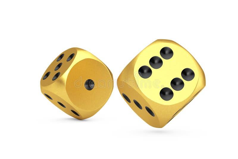 Έννοια παιχνιδιού χαρτοπαικτικών λεσχών Το χρυσό παιχνίδι χωρίζει σε τετράγωνα τους κύβους κατά την πτήση τρισδιάστατη απόδοση στοκ φωτογραφία