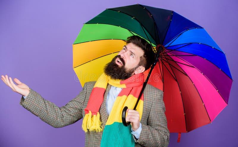 Έννοια πρόγνωσης καιρού Ζωηρόχρωμη ομπρέλα λαβής hipster ατόμων γενειοφόρος Φαίνεται Οι βροχερές ημέρες μπορούν να είναι σκληρές στοκ φωτογραφία με δικαίωμα ελεύθερης χρήσης