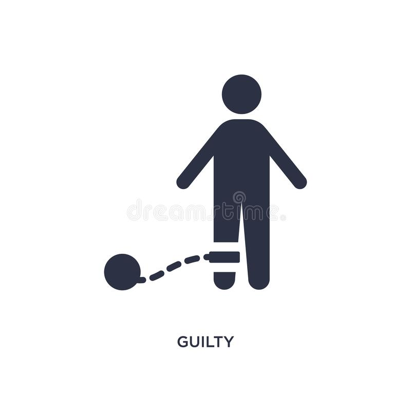 ένοχο εικονίδιο στο άσπρο υπόβαθρο Απλή απεικόνιση στοιχείων από την έννοια νόμου και δικαιοσύνης απεικόνιση αποθεμάτων