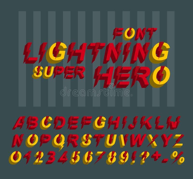 Έξοχη πηγή ηρώων αστραπής τρισδιάστατοι επιστολές και αριθμοί αλφάβητου σε ένα ύφος comics στοκ φωτογραφίες