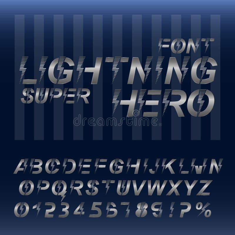 Έξοχο αλφάβητο πηγών ηρώων αστραπής Ασημένιοι μεταλλικοί επιστολές και αριθμοί στοκ εικόνα