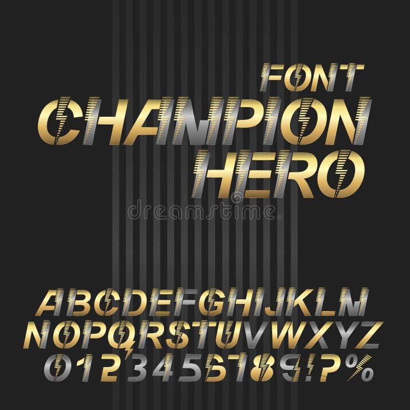 Έξοχο αλφάβητο πηγών ηρώων πρωτοπόρων Ασημένιοι και χρυσοί μεταλλικοί επιστολές και αριθμοί στοκ φωτογραφία