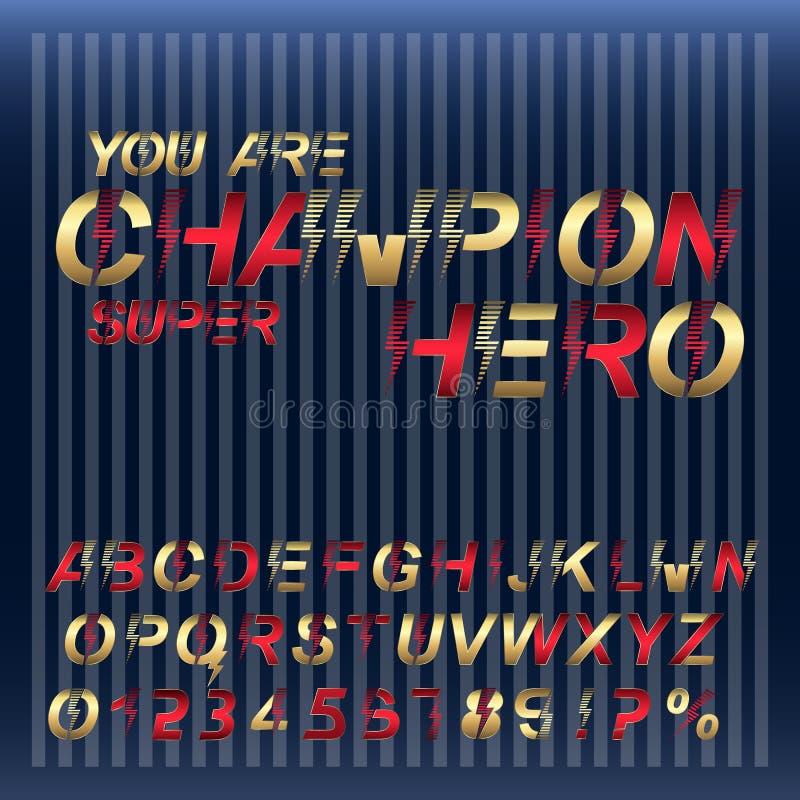 Έξοχο αλφάβητο πηγών ηρώων πρωτοπόρων Χρυσοί και κόκκινοι μεταλλικοί επιστολές και αριθμοί στοκ εικόνα