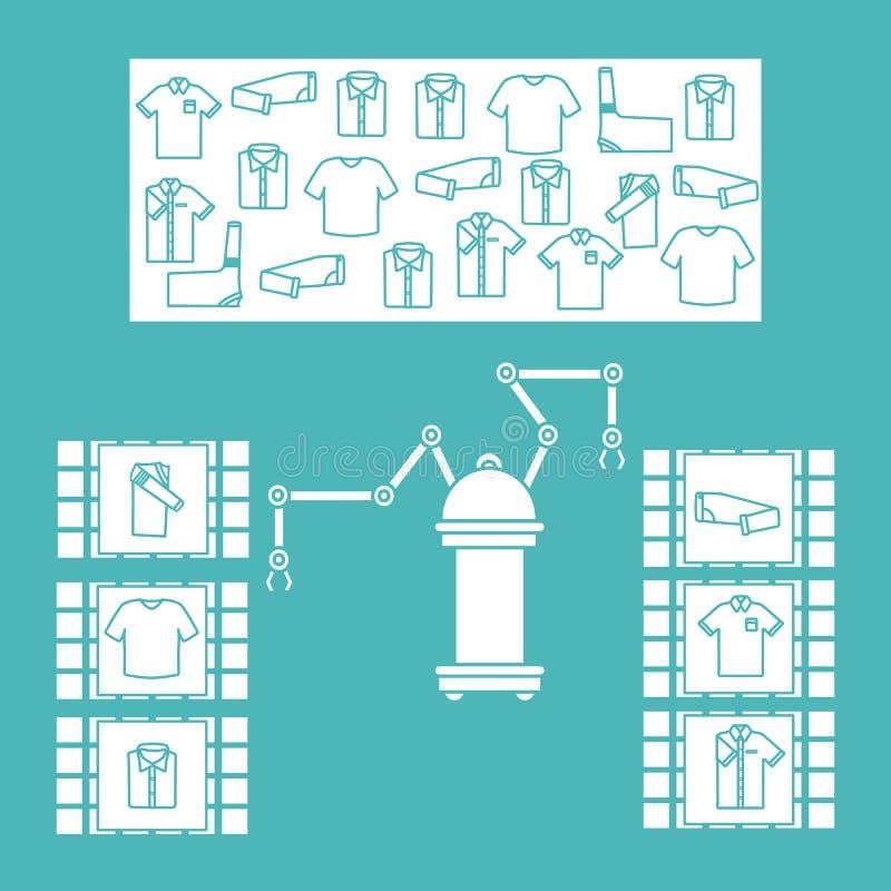 Έξυπνη αυτόματη ρομποτική ταξινόμηση των ενδυμάτων ελεύθερη απεικόνιση δικαιώματος