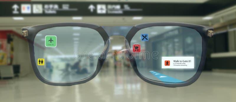 Έξυπνη τεχνολογία στη βιομηχανία κινητά 4 0 ή 5 0 έννοια, έξυπνα γυαλιά χρήσης χρηστών με την αυξημένη μικτή τεχνολογία εικονικής απεικόνιση αποθεμάτων