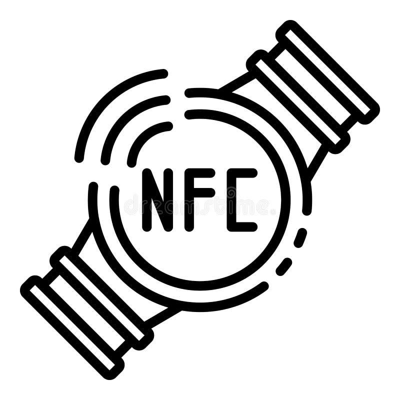 Έξυπνο εικονίδιο ρολογιών Nfc, ύφος περιλήψεων απεικόνιση αποθεμάτων