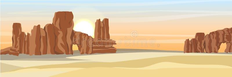 Έρημος με τους βράχους πετρών και την κίτρινη άμμο απεικόνιση αποθεμάτων