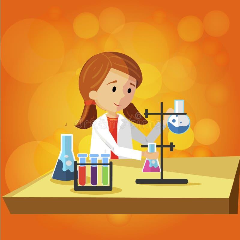 Έφηβη που κάνει την εργαστηριακή εργασία στο σχολείο διανυσματική απεικόνιση