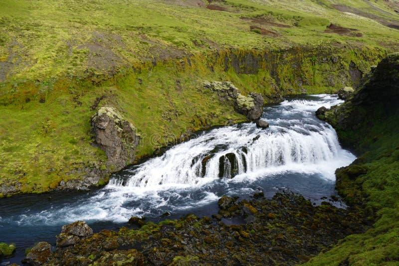 Ίχνος καταρρακτών, το πρώτο μέρος του ίχνους πεζοπορίας Fimmvörduhals από gar Skà ³ σε Porsmörk, Ισλανδία στοκ εικόνες με δικαίωμα ελεύθερης χρήσης