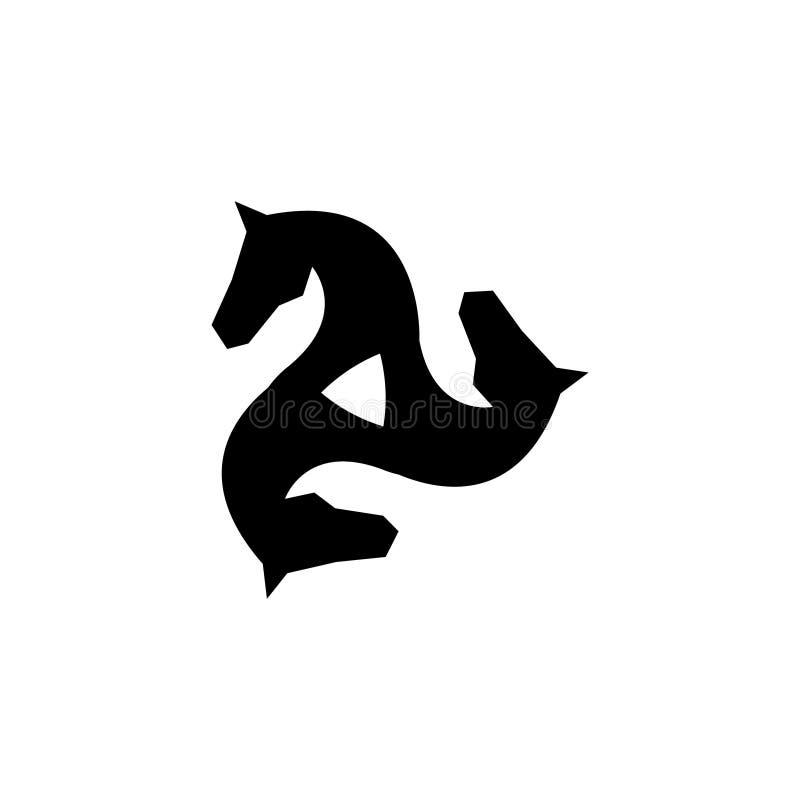 Ίππειο διανυσματικό λογότυπο Διανυσματικό λογότυπο αλόγων Τριπλό λογότυπο απεικόνιση αποθεμάτων