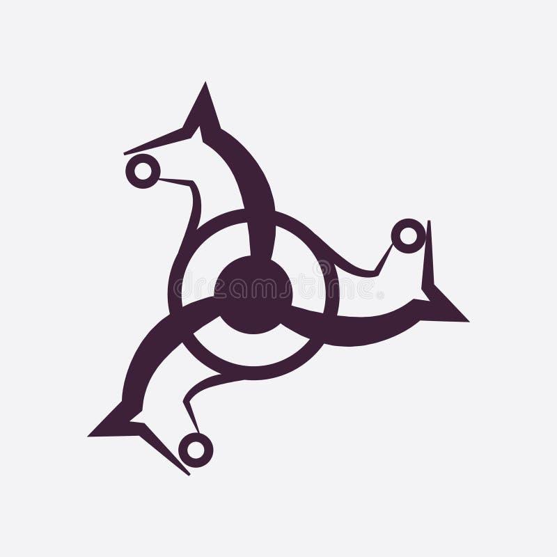 Ίππειο διανυσματικό λογότυπο Διανυσματικό λογότυπο αλόγων Τριπλό λογότυπο διανυσματική απεικόνιση