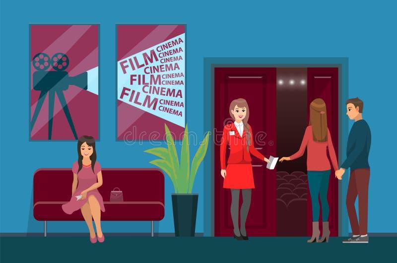Αίθουσα κινηματογράφων, εργαζόμενος κινηματογράφων και θεατές ελεύθερη απεικόνιση δικαιώματος