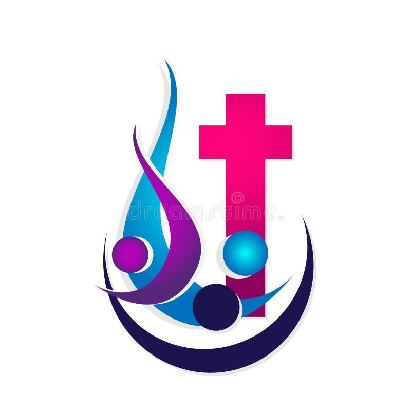 Αγάπη Χριστός, εικονίδιο προσοχής ένωσης ανθρώπων εκκλησιών πόλεων ένωσης αγάπης οικογενειακών εκκλησιών σχεδίου λογότυπων πολιτι διανυσματική απεικόνιση