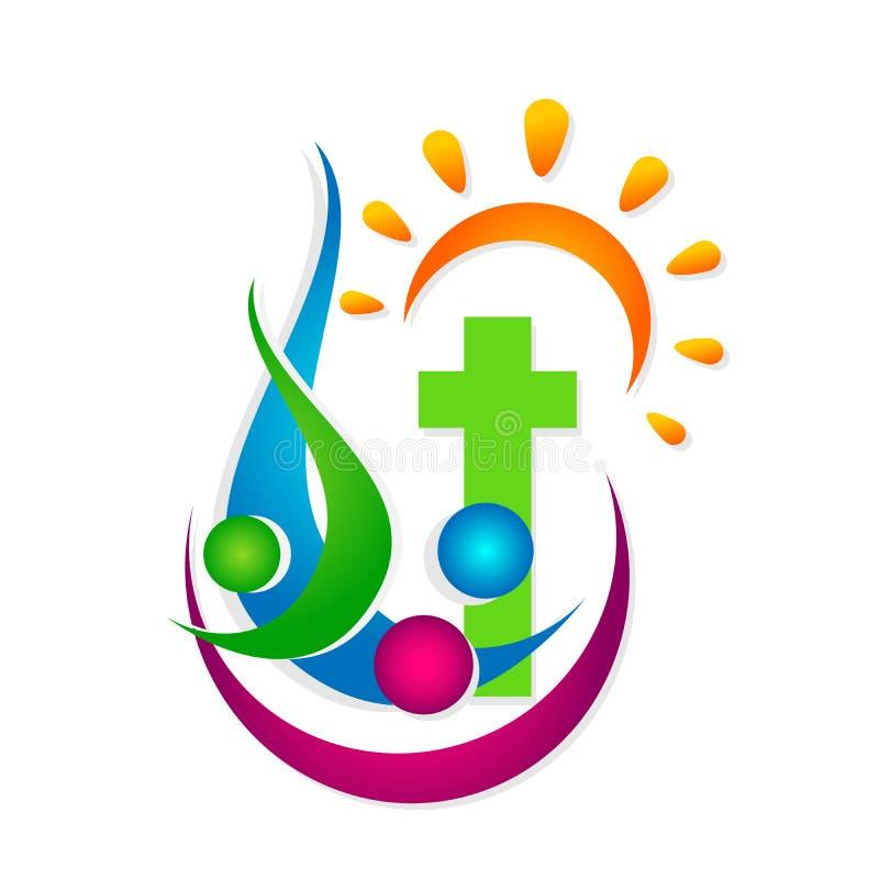 Αγάπη Χριστός, εικονίδιο προσοχής ένωσης ανθρώπων εκκλησιών πόλεων ένωσης αγάπης ήλιων οικογενειακών εκκλησιών σχεδίου λογότυπων  διανυσματική απεικόνιση