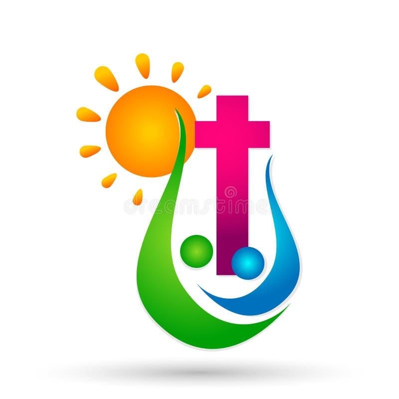 Αγάπη Χριστός, εικονίδιο προσοχής ένωσης ανθρώπων εκκλησιών πόλεων ένωσης αγάπης ήλιων οικογενειακών εκκλησιών σχεδίου λογότυπων  ελεύθερη απεικόνιση δικαιώματος