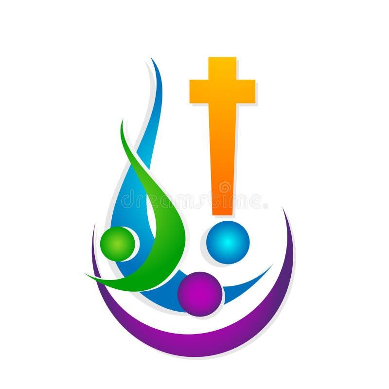 Αγάπη Χριστός, εικονίδιο προσοχής ένωσης ανθρώπων εκκλησιών πόλεων ένωσης αγάπης οικογενειακών εκκλησιών σχεδίου λογότυπων πολιτι απεικόνιση αποθεμάτων