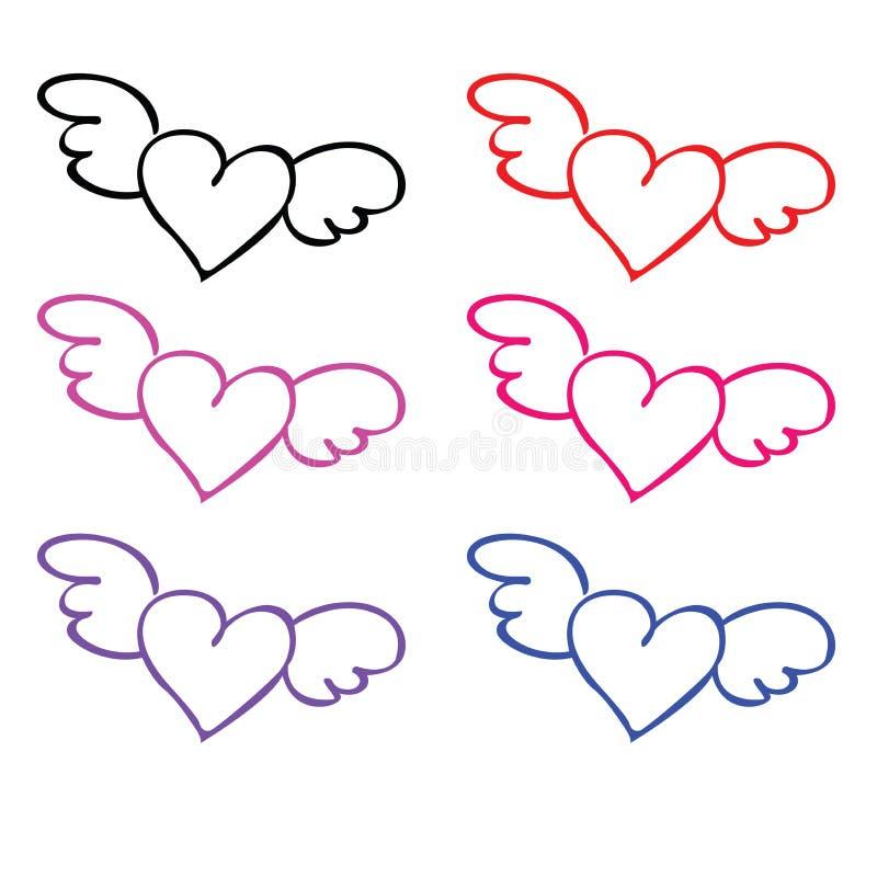 Αγάπη Colorfull με το διάνυσμα φτερών διανυσματική απεικόνιση