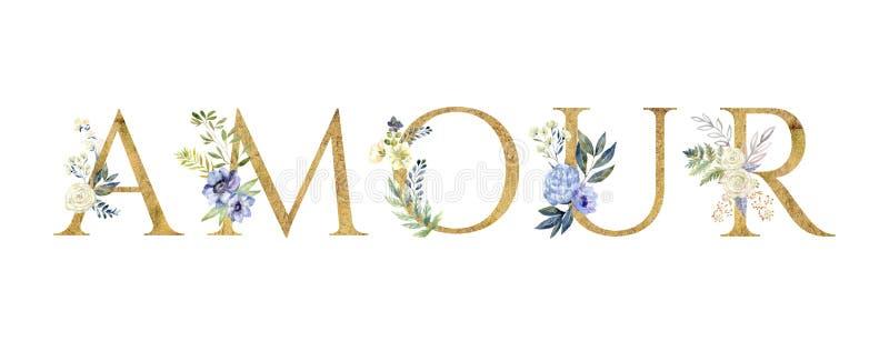 Αγάπη Floral ρομαντική φράση εγγραφής βαλεντίνος ημέρας s διανυσματική απεικόνιση