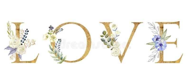 Αγάπη Floral ρομαντική φράση εγγραφής που απομονώνεται στο άσπρο υπόβαθρο διανυσματική απεικόνιση
