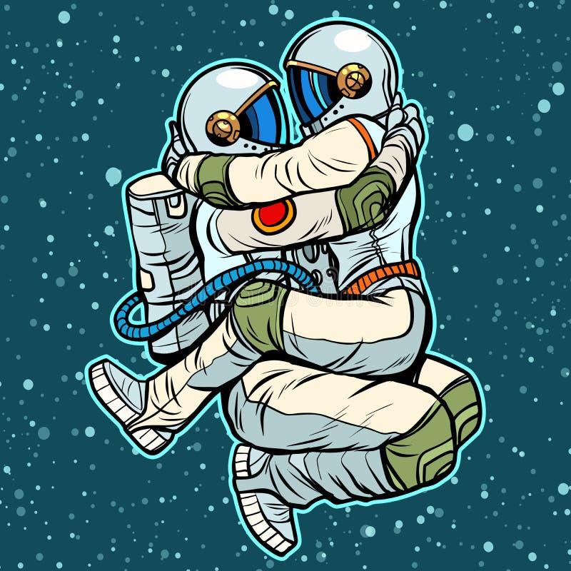 Αγκάλιασμα ανδρών και γυναικών αστροναυτών εμπαθής προκλητικός ζε&upsilon διανυσματική απεικόνιση