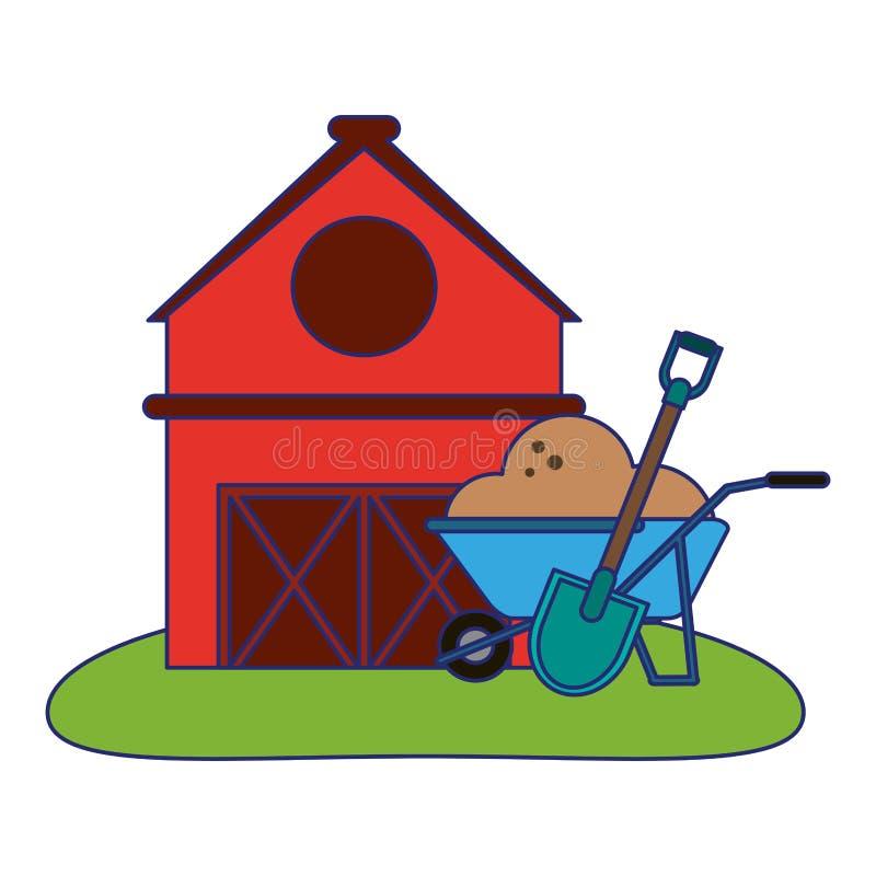 Αγροτικά σπίτι και wheelbarrow με το έδαφος και το φτυάρι απεικόνιση αποθεμάτων