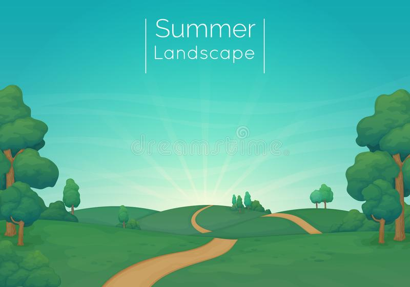 Αγροτική διανυσματική απεικόνιση τοπίων Πράσινα λιβάδια με τα δέντρα πεύκων, τους Μπους και έναν βρώμικο δρόμο Μπλε ουρανός με τα ελεύθερη απεικόνιση δικαιώματος