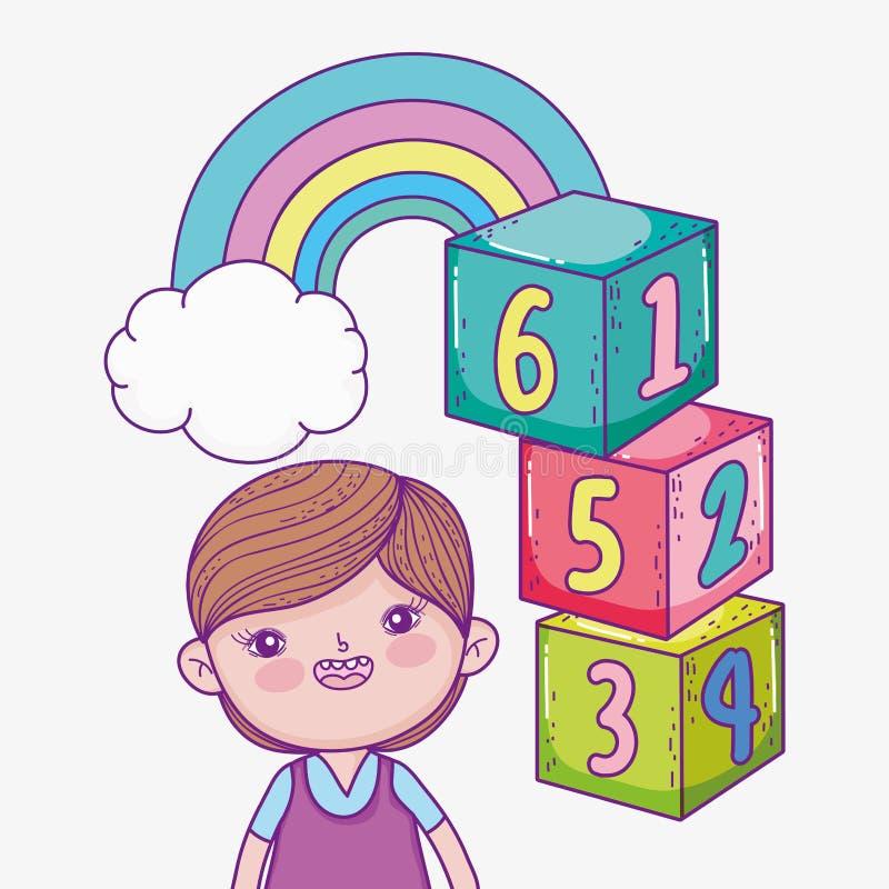 Αγόρι με το παιχνίδι κύβων και ουράνιο τόξο με το σύννεφο απεικόνιση αποθεμάτων