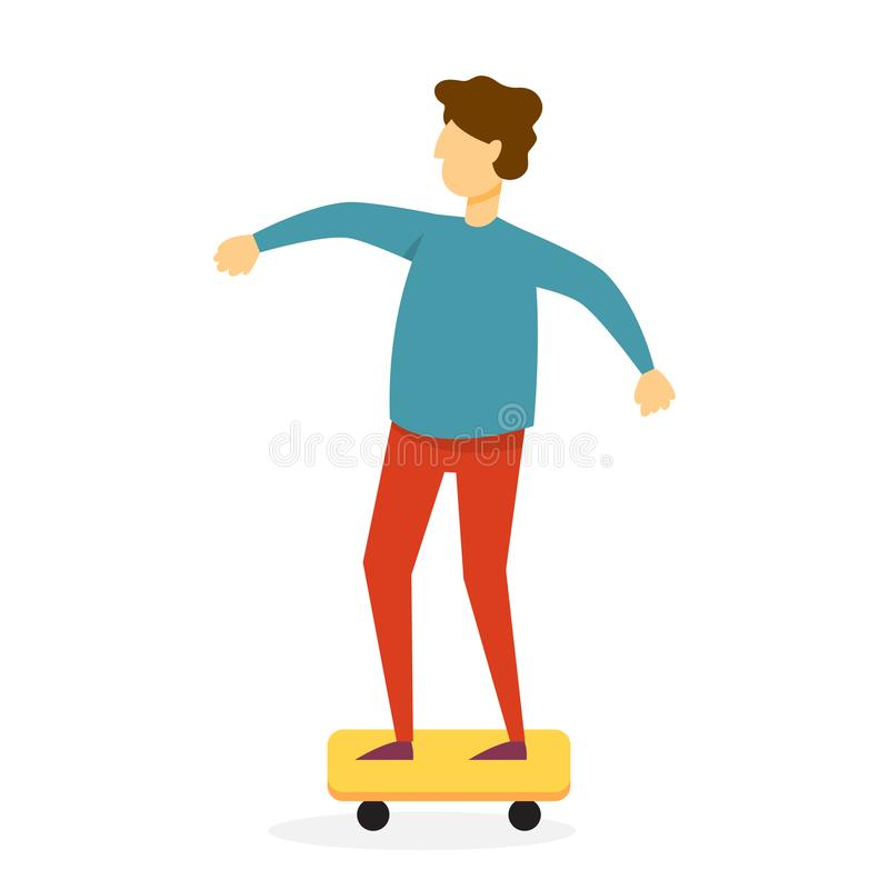 Αγόρι που οδηγά skateboard Ευτυχής σκέιτερ που έχει τη διασκέδαση διανυσματική απεικόνιση