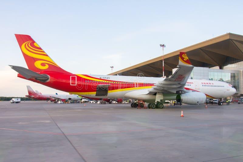 Αερολιμένας Pulkovo, Ρωσία Άγιος-Πετρούπολη αερογραμμών airbus a330 Hainan 15 Αυγούστου 2018 στοκ εικόνες