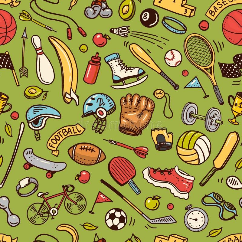 Αθλητικό άνευ ραφής πρότυπο Ύφος εικονιδίων doodle Εξοπλισμός για την ικανότητα και την κατάρτιση Σύμβολα της υγείας και της δρασ απεικόνιση αποθεμάτων