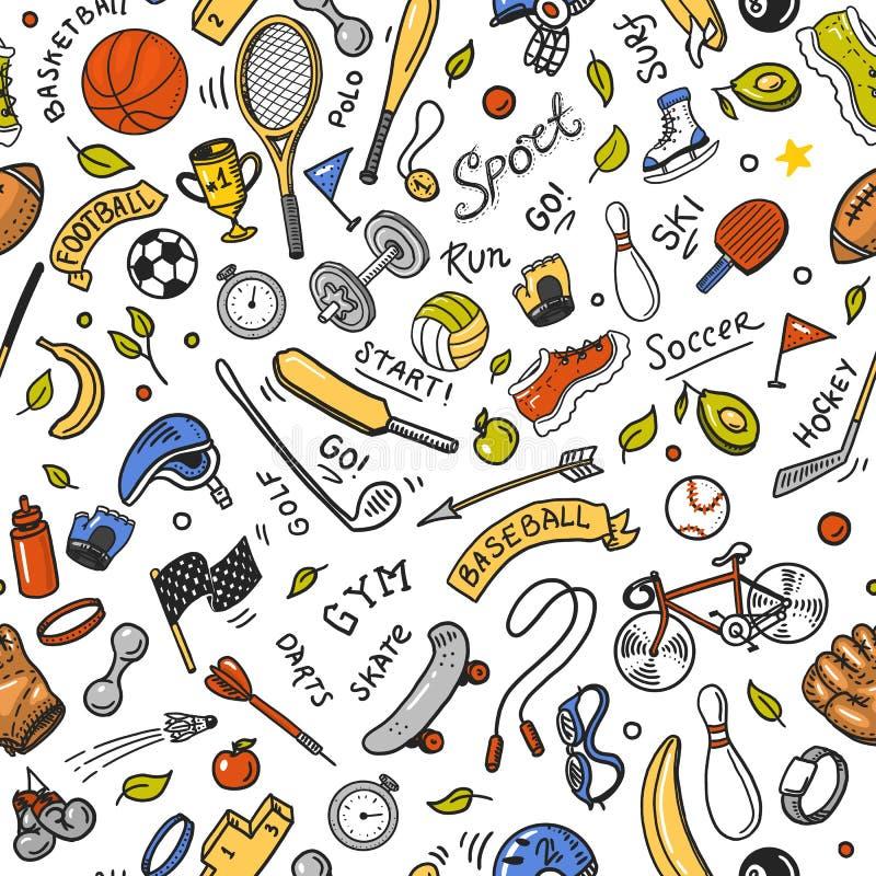 Αθλητικό άνευ ραφής πρότυπο Ύφος εικονιδίων doodle Εξοπλισμός για την ικανότητα και την κατάρτιση Σύμβολα της υγείας και της δρασ ελεύθερη απεικόνιση δικαιώματος