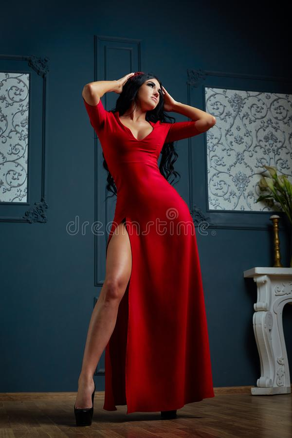 Αισθησιακή νέα γυναίκα στο κόκκινο φόρεμα Στούντιο που πυροβολείται ενός κοριτσιού με τη μακριά σκοτεινή τρίχα στοκ εικόνες