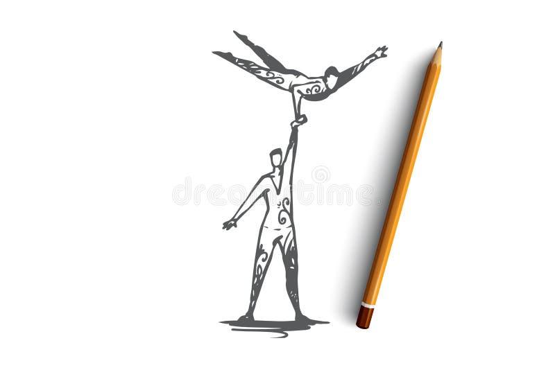 Ακροβατικός, τσίρκο, ισορροπία, απόδοση, έννοια συνεργασίας Συρμένο χέρι απομονωμένο διάνυσμα διανυσματική απεικόνιση