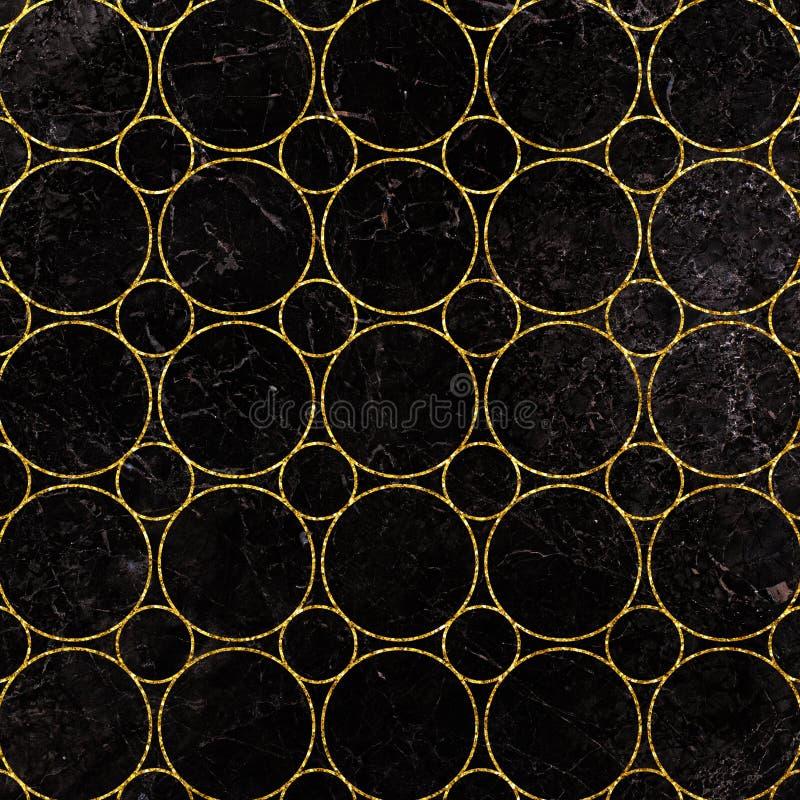 Ακτινοβολήστε σχέδιο διακοσμήσεων στο μαρμάρινο υπόβαθρο Ακτινοβολήστε γεωμετρικό σχέδιο Χρυσό υπόβαθρο κύκλων ελεύθερη απεικόνιση δικαιώματος