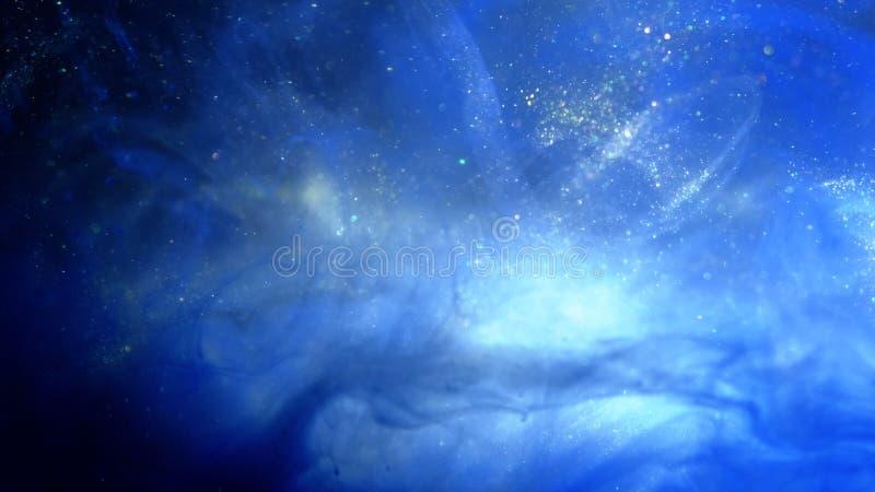 Ακτινοβολώντας μπλε υπόβαθρο μορίων Μπλε σκόνη κόσμου με τα αστέρια στο μαύρο υπόβαθρο Περίληψη κινήσεων των μορίων στοκ φωτογραφία με δικαίωμα ελεύθερης χρήσης