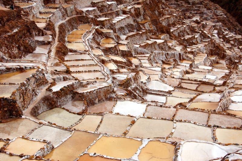 Αλατισμένα τηγάνια Maras - Περού Νότια Αμερική στοκ φωτογραφίες