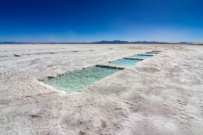 Αλατισμένη παραγωγή στην έρημο των αλυκών Grandes, Αργεντινή στοκ εικόνες