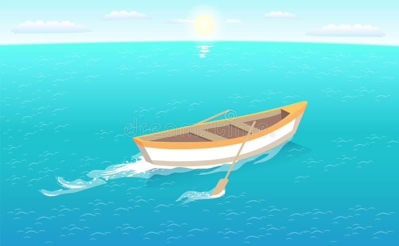 Αλιευτικό σκάφος με το ίχνος άδειας κουπιών στη θάλασσα ή τον ωκεανό ελεύθερη απεικόνιση δικαιώματος