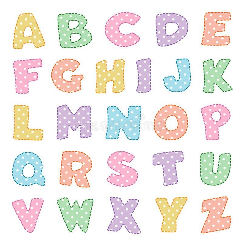 Αλφάβητο, κρητιδογραφίες με τα σημεία Πόλκα απεικόνιση αποθεμάτων