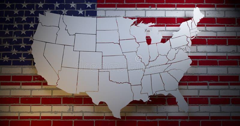 Αμερικανική σημαία στο τουβλότοιχο με τη σκιαγραφία χαρτών τρισδιάστατη απεικόνιση διανυσματική απεικόνιση