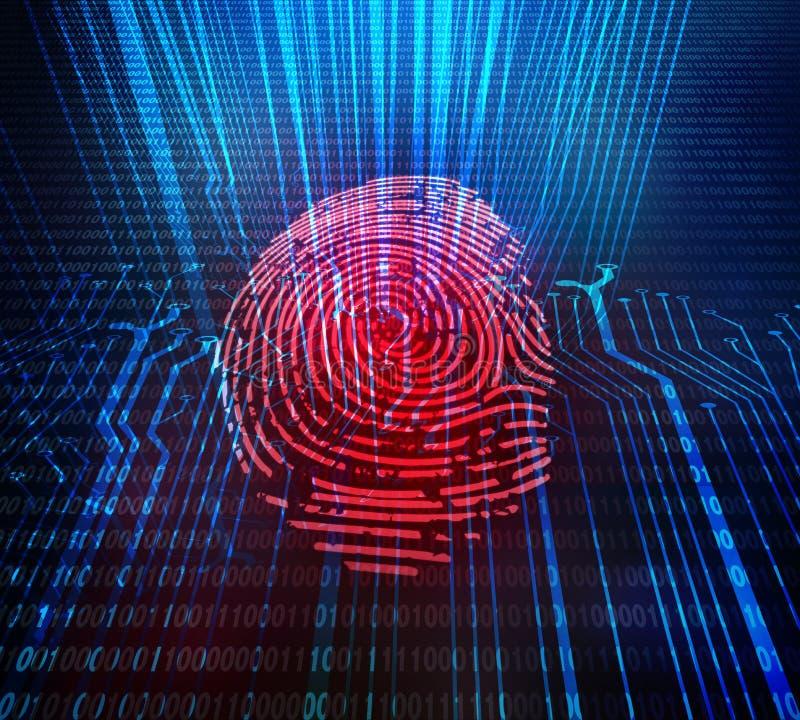 Ανάλυση στοιχείων πρόσβασης και ασφάλειας για τον ανθρώπινο βιομετρικό προσδιορισμό Κόκκινη επαλήθευση δακτυλικών αποτυπωμάτων ψη ελεύθερη απεικόνιση δικαιώματος