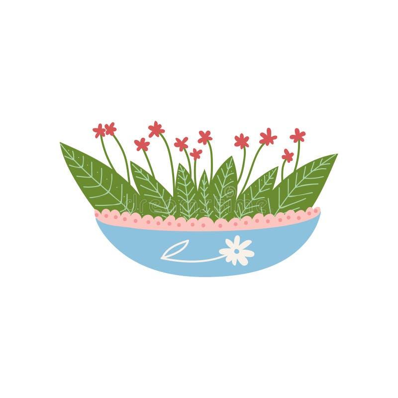 Ανάπτυξη φυτού ανθίσματος στο χαριτωμένο δοχείο, στοιχείο σχεδίου για τη φυσική διανυσματική απεικόνιση εγχώριων εσωτερική διακοσ απεικόνιση αποθεμάτων