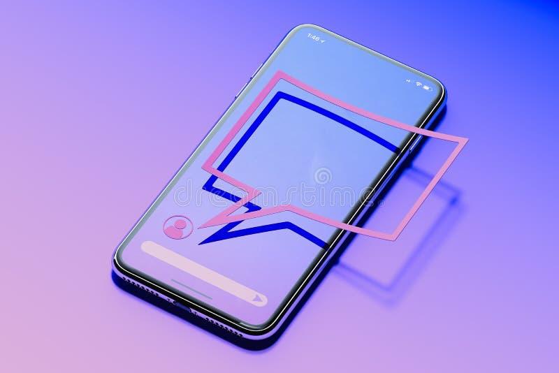 Ανακοίνωση μηνυμάτων Λεκτική φυσαλίδα στο κινητό τηλέφωνο συνομιλίες έννοιας επικοινωνίας δεσμών που έχουν τους ανθρώπους μέσων κ ελεύθερη απεικόνιση δικαιώματος