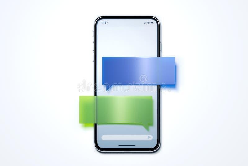 Ανακοίνωση μηνυμάτων Λεκτική φυσαλίδα στο κινητό τηλέφωνο συνομιλίες έννοιας επικοινωνίας δεσμών που έχουν τους ανθρώπους μέσων κ απεικόνιση αποθεμάτων